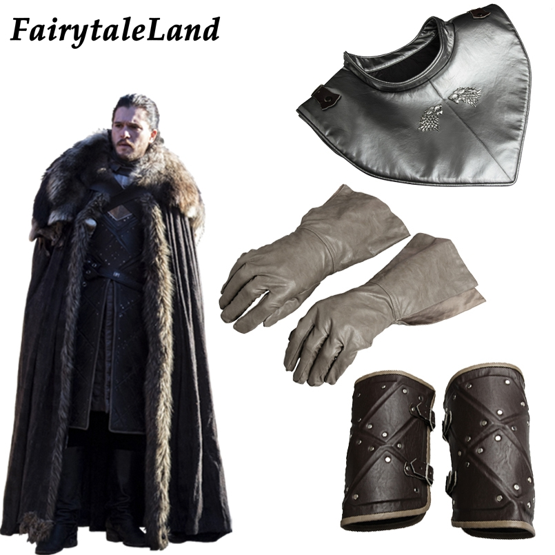 Game of Thrones Season 8 cosplay Accessories Jon Snow costume Prop Armor Gloves Jon Outfit Wrister Wrist support Collar shipping