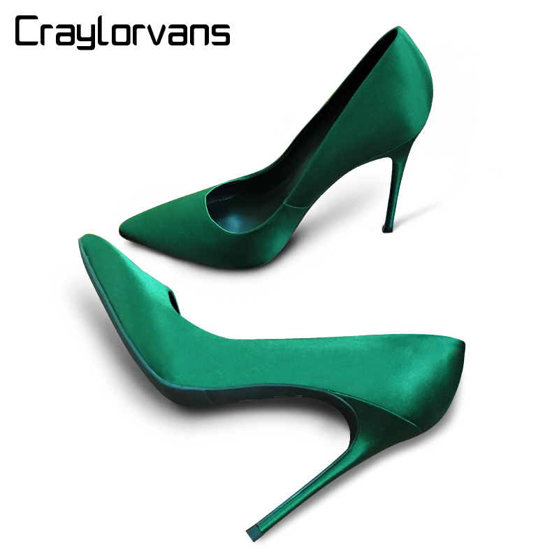 craylorvans top quality leopard gradual change color women pumps pointed toe thin high heels 2018 new fashion luxury women shoes Craylorvans Sexy Emerald Women High Heels Silk Pointed Toe Wedding Shoes Elegant Party Women Shoes Luxury Women Pumps Chaussure