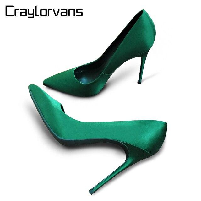 537fd31a1 Craylorvans Sexy Esmeralda de Seda Das Mulheres de Salto Alto Do Dedo Do Pé  Apontado Sapatos