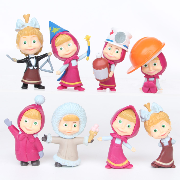 8pcs/set 5-6cm Masha and Bear PVC Action Figures Toys for Children girls Christmas Gifts Birthday Party Supplies 7 pcs set with original package transformation robot cars and prime toys action figures classic toys for kids christmas gifts