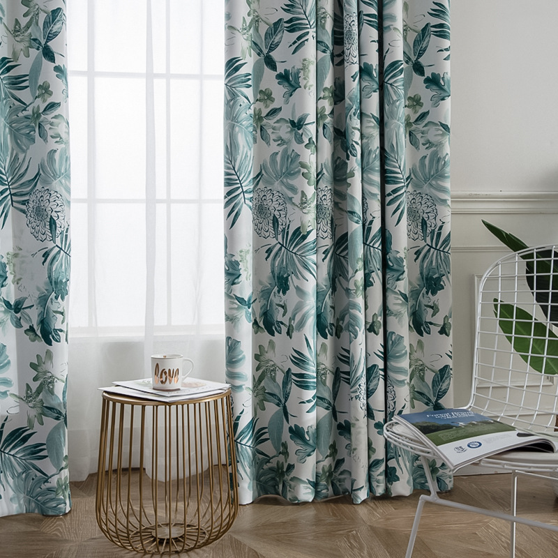 Nordic Linen Printing Curtains For Bedroom Thickened American Linen Shade Curtains For Living Room Green Leaves