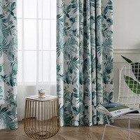 Nordic linho impressão cortinas para quarto engrossado americano sombra de linho cortinas para sala estar folhas verdes