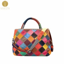CHECKERED GENUINE LEATHER PATCHWORK SHOULDER BAG – Women's Large Casual Soft Calf Cow Cowhide Real Leather Hobo Tote Bag Handbag