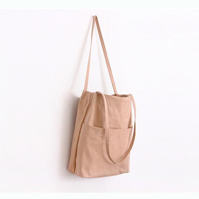 e86f4ca51c35a BAGTALK WJ7201 Shopper Torba Dla Dziewczyn Zmywalny Jednolity Kolor Duża  Komora Kobiety Ramię torby Ekologiczne Bawełniane