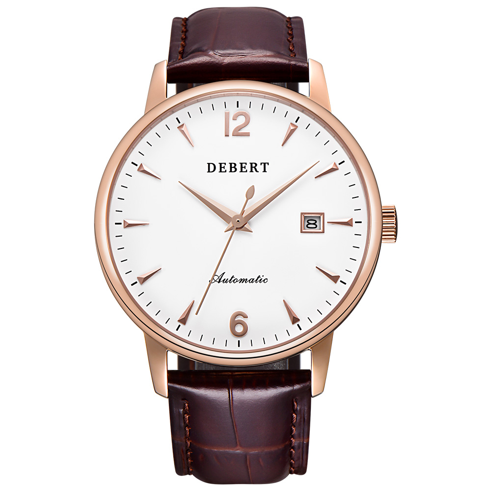 New 40mm Debert High Quality White Dial Rose Case Genuine Leather Strap Japan MIYOTA 8215  Water Resistant Automatic men watches corgeut 44mm wristwatches rose gold case white dial coffee leather strap hand winding 6498 water resistant men watches cm2005b