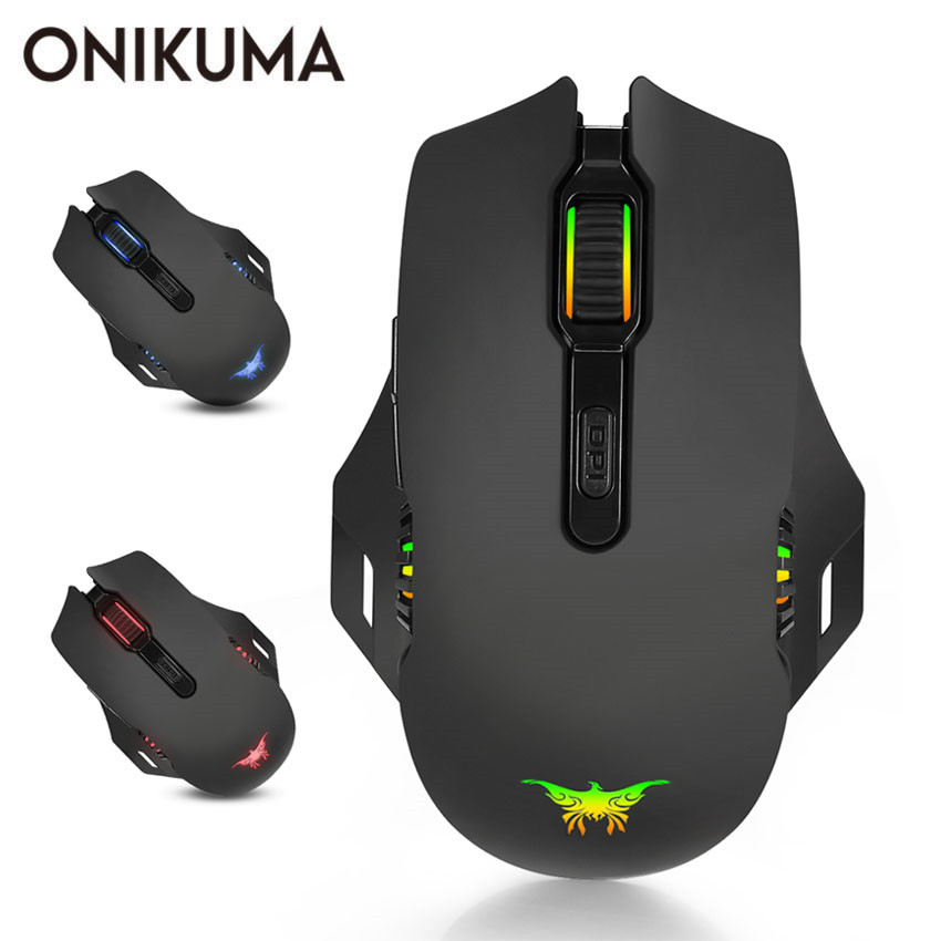ONIKUMA Wireless Gaming Mouse Combaterwing W200 Rechargeable 2.4GHz Optical 6000 DPI Gaming Mice 6 Breathing LED Colors