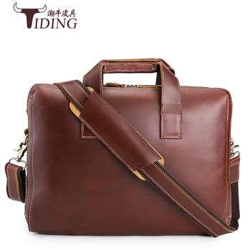 Men's Briefcase brands Crazy Horse leather men's briefcase laptop bags top mens briefcase High Quality Men Handbags online