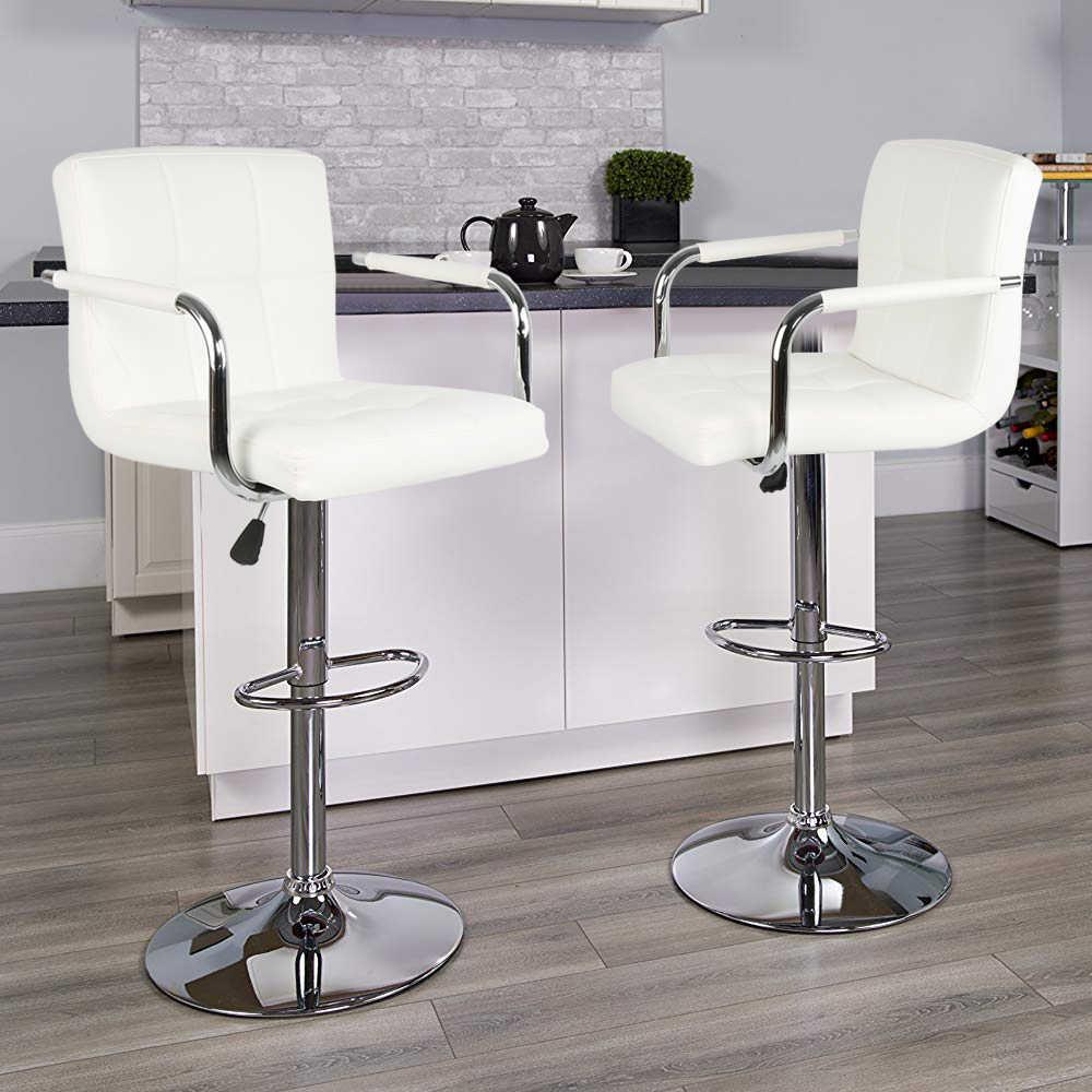 2 шт. белый поворотный, из искусственной кожи барные стулья, стулья с регулируемой высотой стул для паба барные стулья современный стиль HWC