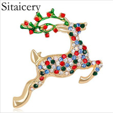 цена на Sitaicery Colorful Rhinestone Deer Brooches For Women Man Unisex Christmas Reindeer Pins Luxury Coat Corsage Fashion Jewelry