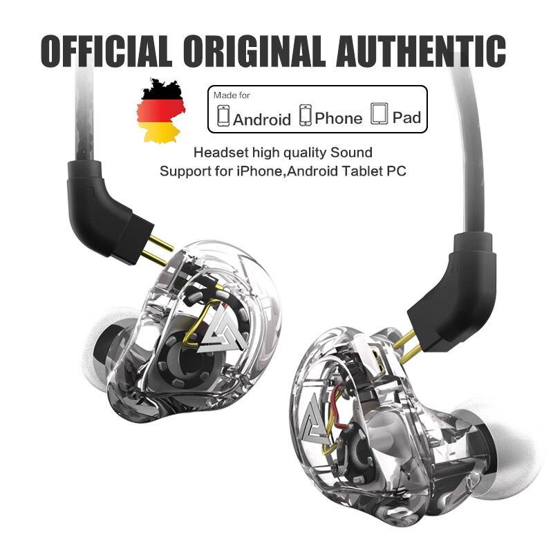 Original QKZ VK1 4DD In Ear Earphone HIFI DJ bass Monito running Sport earphone PK v80 zs10 AS10 meizu pop EP52 huawei freebud цена