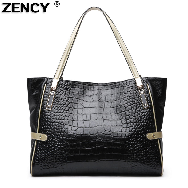 1bd734954488 US $51.9 48% OFF|ZENCY Classic Deign Deisnger Genuine Leather Crocodile  Pattern Handbags Women Shoulder Ladies Real Cowhide Casual Shopping Bag-in  ...