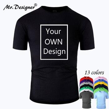 Il tuo Logo del marchio di Design/immagine personalizzata uomo e donna T-shirt in cotone fai-da-te T-shirt casual manica corta top Tee 13 colori tm001