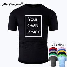 Мужская и женская футболка с коротким рукавом, индивидуальная хлопковая Футболка с логотипом бренда Your OWN Design, повседневные футболки 13 цвет...