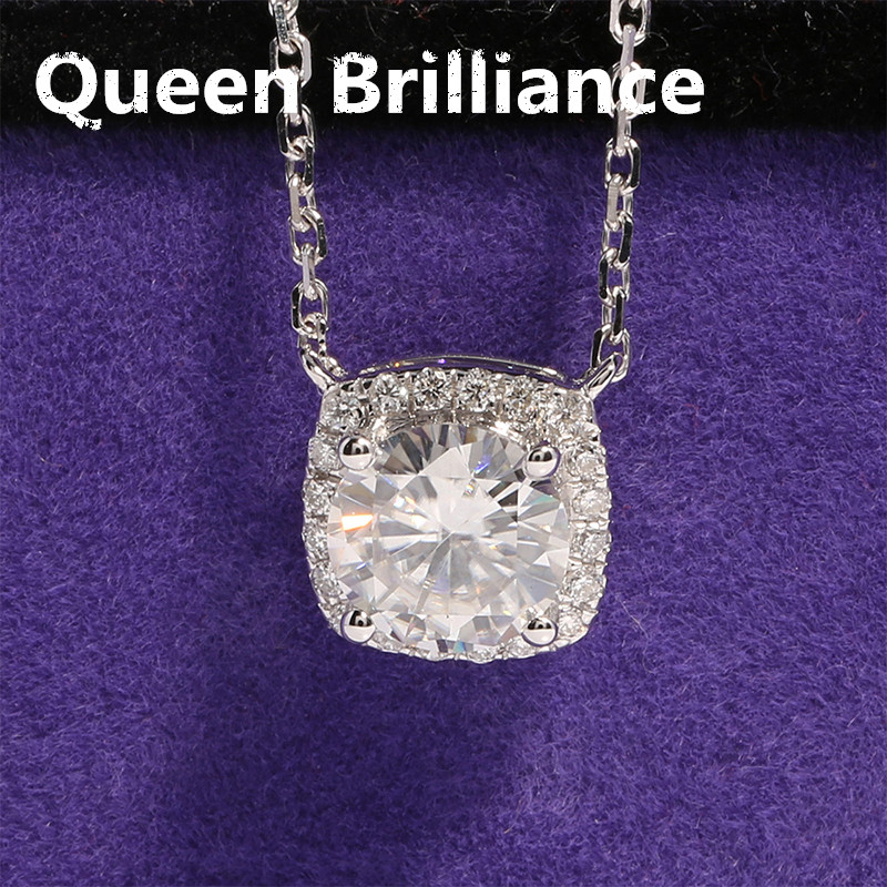 Solid 18K 750 White Gold 1 Ct F Color Round Brilliant Lab Grown Moissanite Diamond Halo Pendant Necklace With Accents For Women