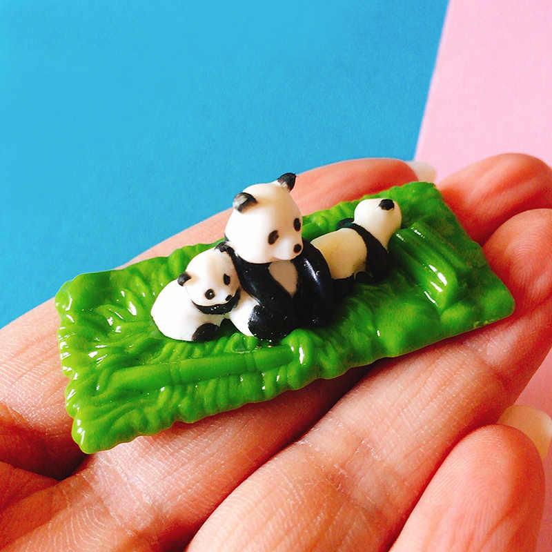 1pcs cute sleeping panda in boat/miniatures/lovely animals/fairy garden gnome/terrarium decoration/crafts/figurine/diy supplies