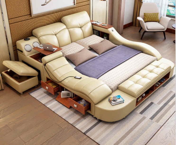 Real Genuine leather bed frame massage Soft Bed Home Bedroom Furniture camas lit muebles de dormitorio yatak mobilya quarto bett