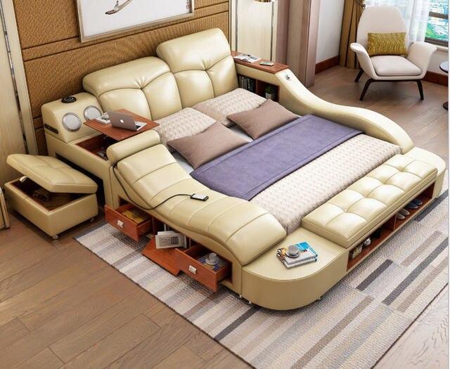 אמיתי אמיתי עור מיטת מסגרת עיסוי רך מיטת בית חדר שינה ריהוט camas מואר muebles דה dormitorio yatak mobilya quarto bett
