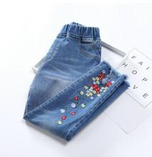 Children's Pants 2019 Spring Autumn Kids Jeans wear Fashion Denim Ripped Pants for Girls  Baby Girl embroidery Trousers MMX0015 fashion ripped jeans for kids girl clothes long hole girls jeans pants summer destroyed denim trousers pants for 4 12 years girl