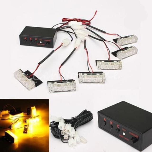 DC12V 18 LED Emergência Strobe Flashing Beacon/Aviso Strobe Grill Luz De Emergência lâmpada de Iluminação Da Lâmpada Âmbar Amarelo