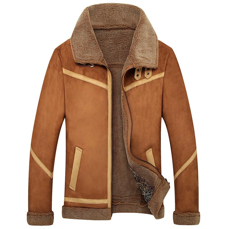 Vintage Mens Suede Leather Lamb Wool Fleece Fur Winter Warm Coats Outwear_4XL 4Styles