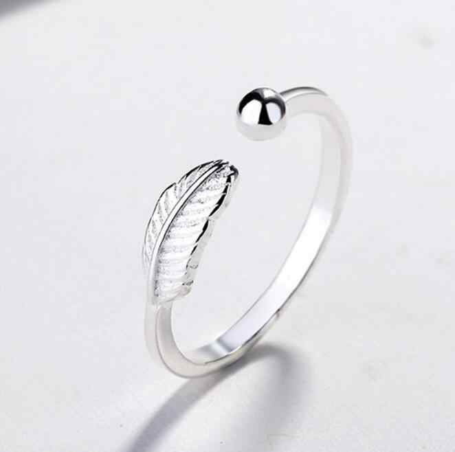 High-quality Silver Plated metal Leaf Feather Ring Opening Finger Ring For Women Girl Simple Personality 925 Fashion Jewelry