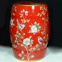 Американская деревня Стиль красные цветы китайский Керамика табурет барабанщика Гостиная Главная Декоративные изменить обувь Макияж Косм