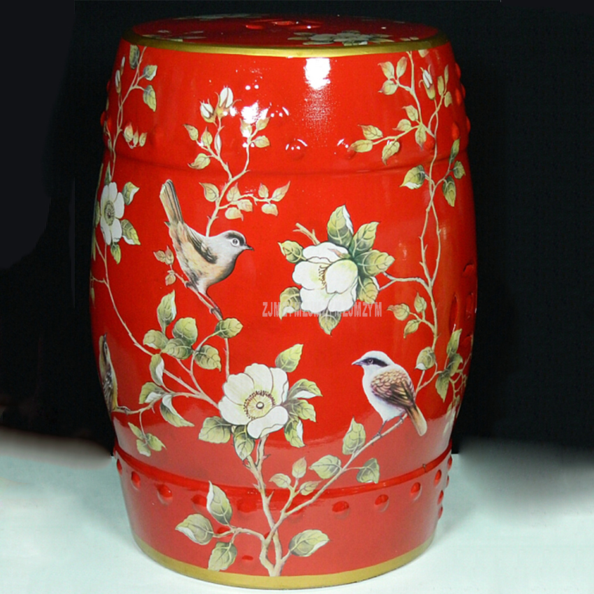 American Village Style Red Flowers Chinese Ceramic Drum Stool Living Room Home Decorative Change Shoes Makeup Cosmetic Stool decorative living room ceramic antique garden drum stool
