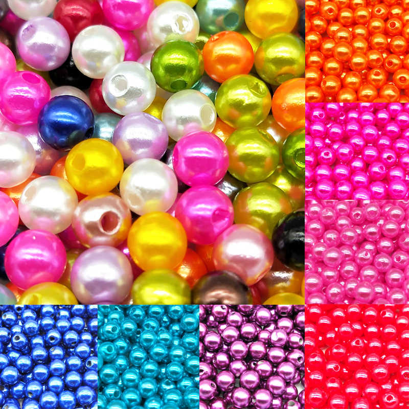 4/6/8/10mm Mixed Color ABS Fashion Bright Candy Color Simulated pearl Pears Spacer Loose DIY Jewelry Bracelets Necklaces Making