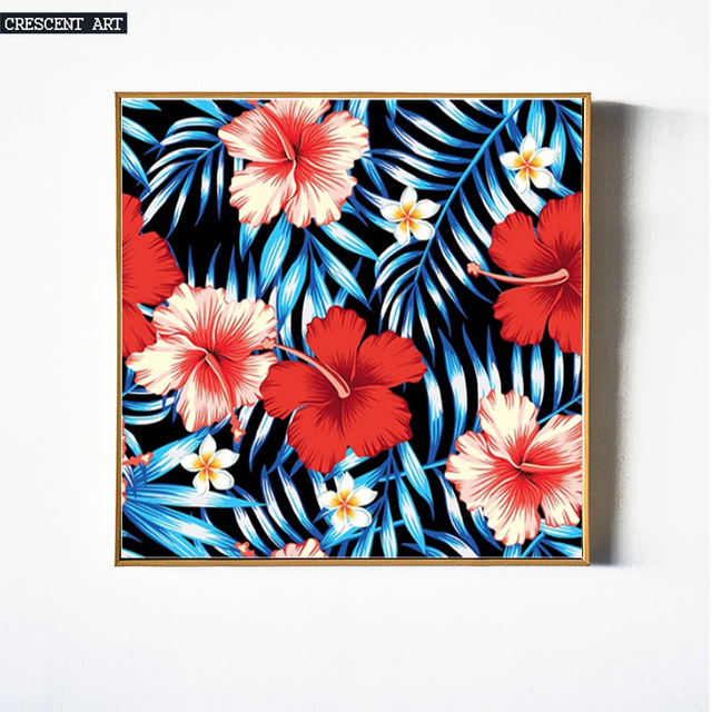 hawaiian aloha flowers spring bloom wall decoration poster leaves
