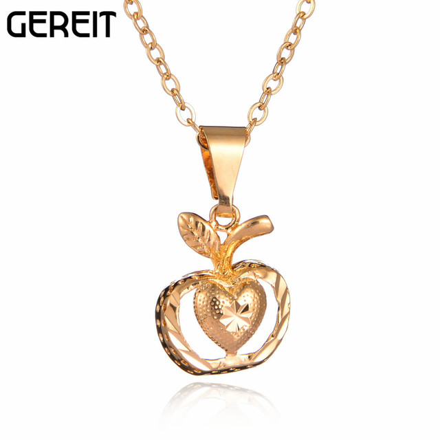 Gereit fashion jewelry gold color apple pendant necklace with a gereit fashion jewelry gold color apple pendant necklace with a heart women accessories cooper necklace mozeypictures Image collections