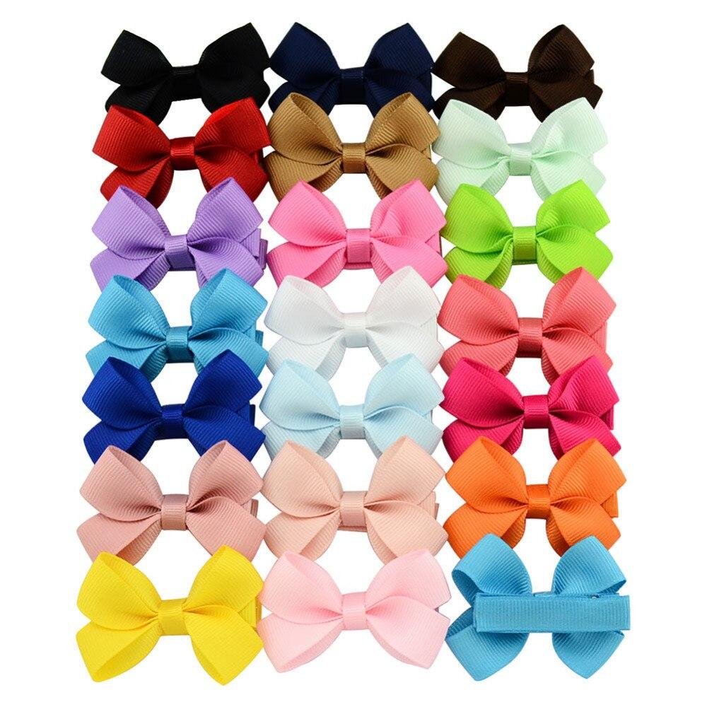 Ha hair bow ribbon wholesale - 20pcs Lot 2 4inch Mini Candy Color Grosgrain Ribbon Bows Small Bowknot Kids Boutique Hair Bow Handmade Children Hair Accessories