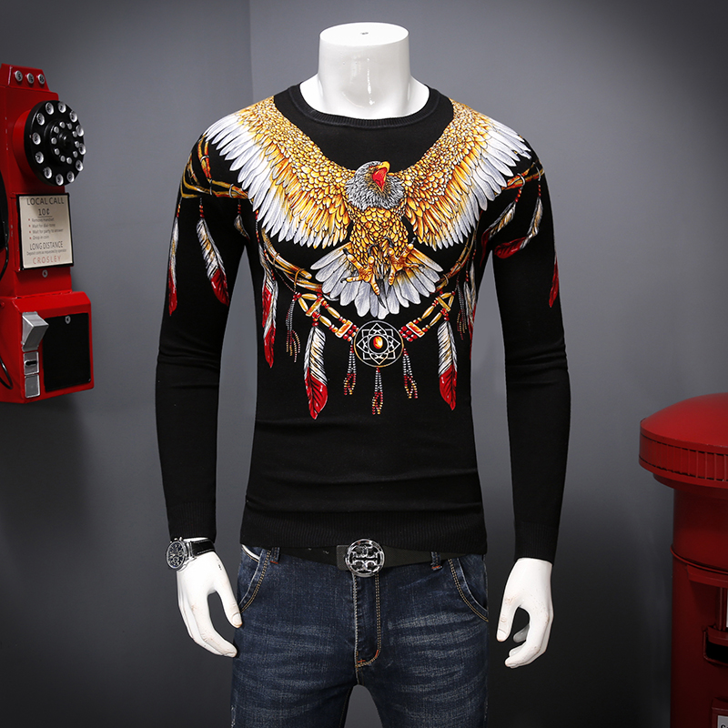 Creative Eagle Feather Pattern 3D Printing Fashion Pullover Sweater Autumn 2018 New Quality Modal Cotton Soft Sweater Men M-XXXL