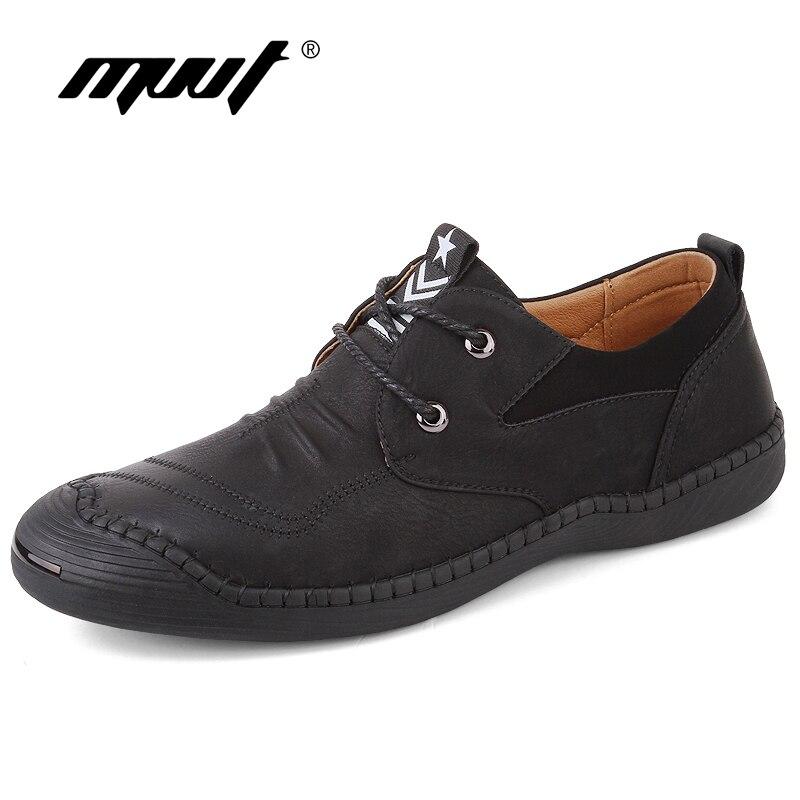 New 2018 Quality Split Leather Shoes Men Casual Shoes Classic Retro Lace Up On Men Loafers Men Flats Hot Sale Zapatos Hombre