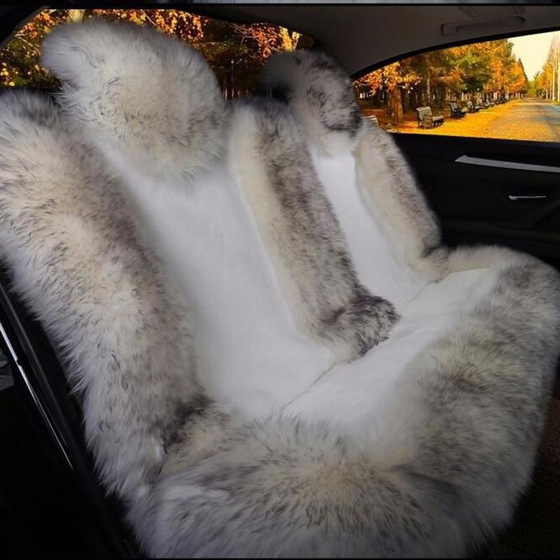 MUNIUREN Australian Natural Wool Seat Cover for Rear Seat Winter Warm Long Wool Car Cushion Plush