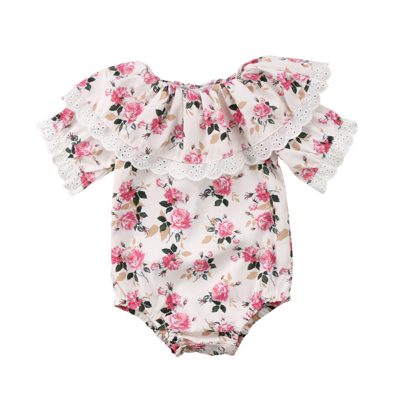 Newborn Kids Baby Girl Princess Floral Romper Bodysuit Jumpsuit Outfits Clothes