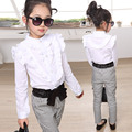 2015 primavera infantil niña de manga larga camisa con volados de pata de gallo niño pantalones fijaron
