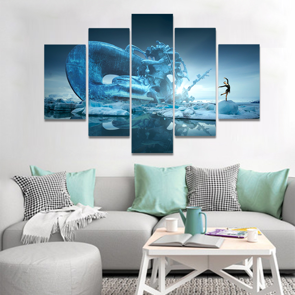 Unframed Canvas Art Painting Lakeside Dancer Giant Stone Statue Picture Prints Wall Picture For Living Room Wall Art Decoration