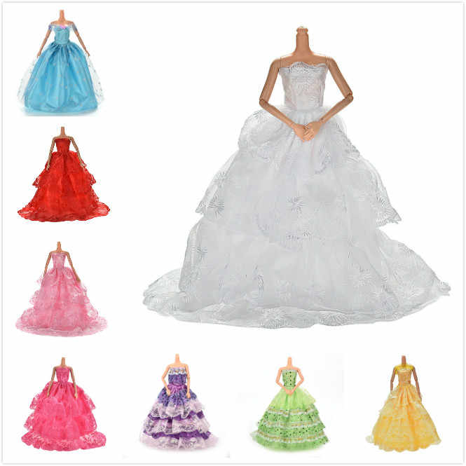 Elegant Handmade Wedding princess Dress Floral Doll Dress Clothes Clothing  Multi Layers Dolls Accessories Lace Summer ebd030b25f5a