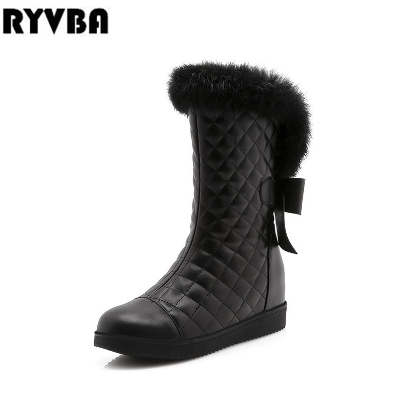 RYVBA women mid calf snow boots flat winter warm plush boots 2019 fashion wedges heels flats woman autumn ladies black red shoes