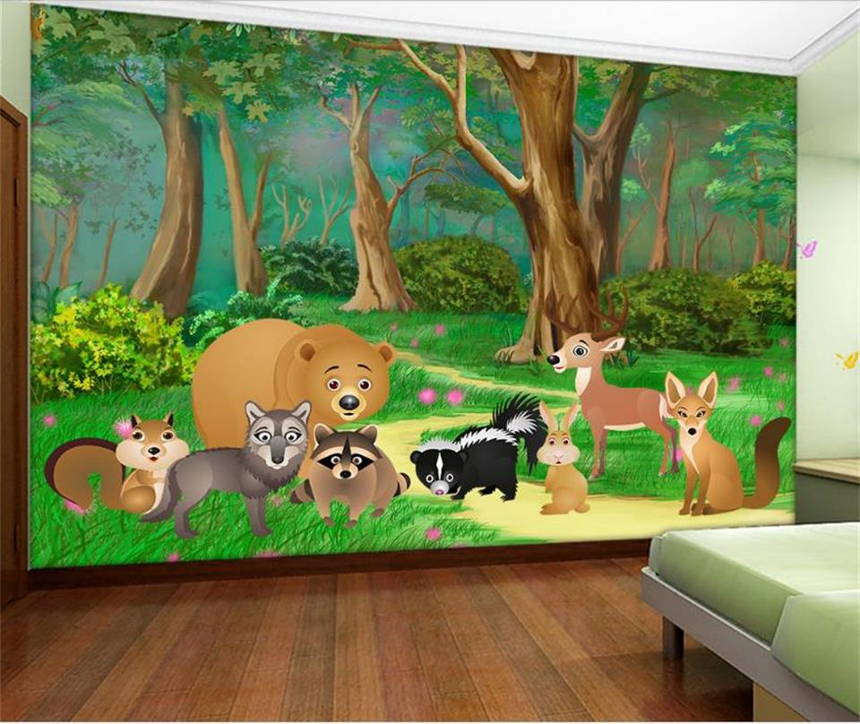 custom 3d photo wallpaper living room background kids mural cartoon forest animal 3d photo wall mural wallpaper for living room
