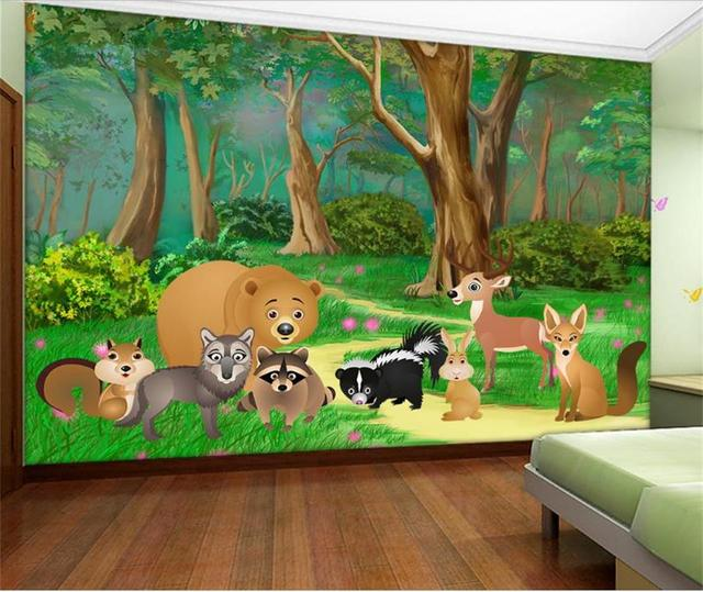 Custom Photo Wallpaper Living Room Background Kids Mural Cartoon Forest Animal Wall For