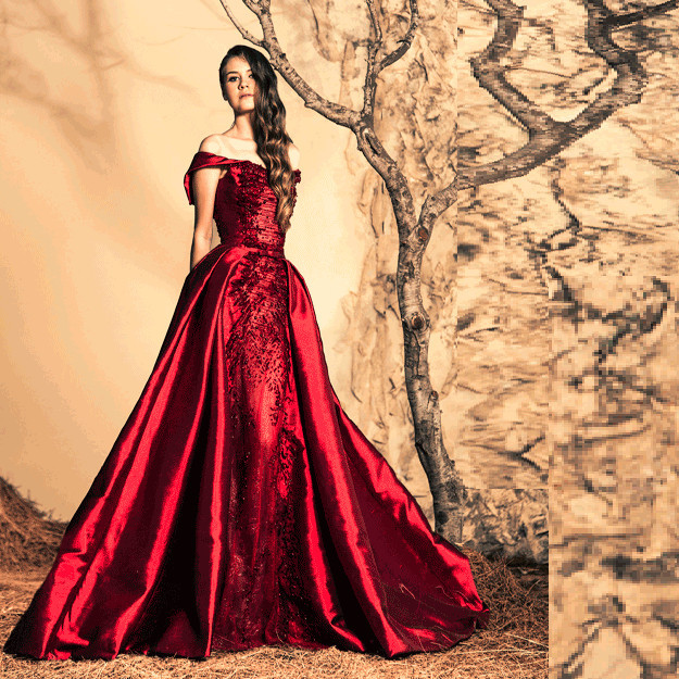 Elegant Ball Gown Red Evening Dress Off Shoulder Evening Dresses ...