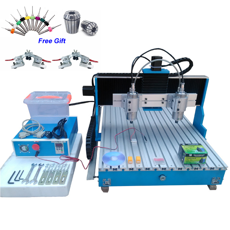 Linear Guide Rail CNC Milling Machine Double-spindle Wood Router 6090 USB Parallel Port 1.5KW Spindle Motor