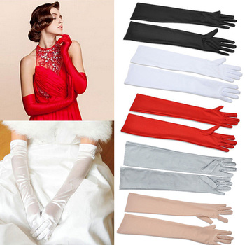 Satin Long Finger Elbow Sun protection gloves Opera Evening Party Prom Costume Fashion Gloves black red white grey women B2528b