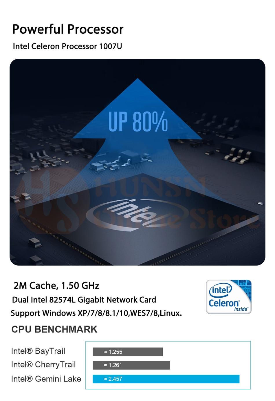 Fanless Industrial PC,Mini Computer,Windows 10 Pro/Linux ,Intel Celeron  1007U,[HUNSN MA03I],(1VGA/1HD/4USB2 0/4USB3 0/2LAN)