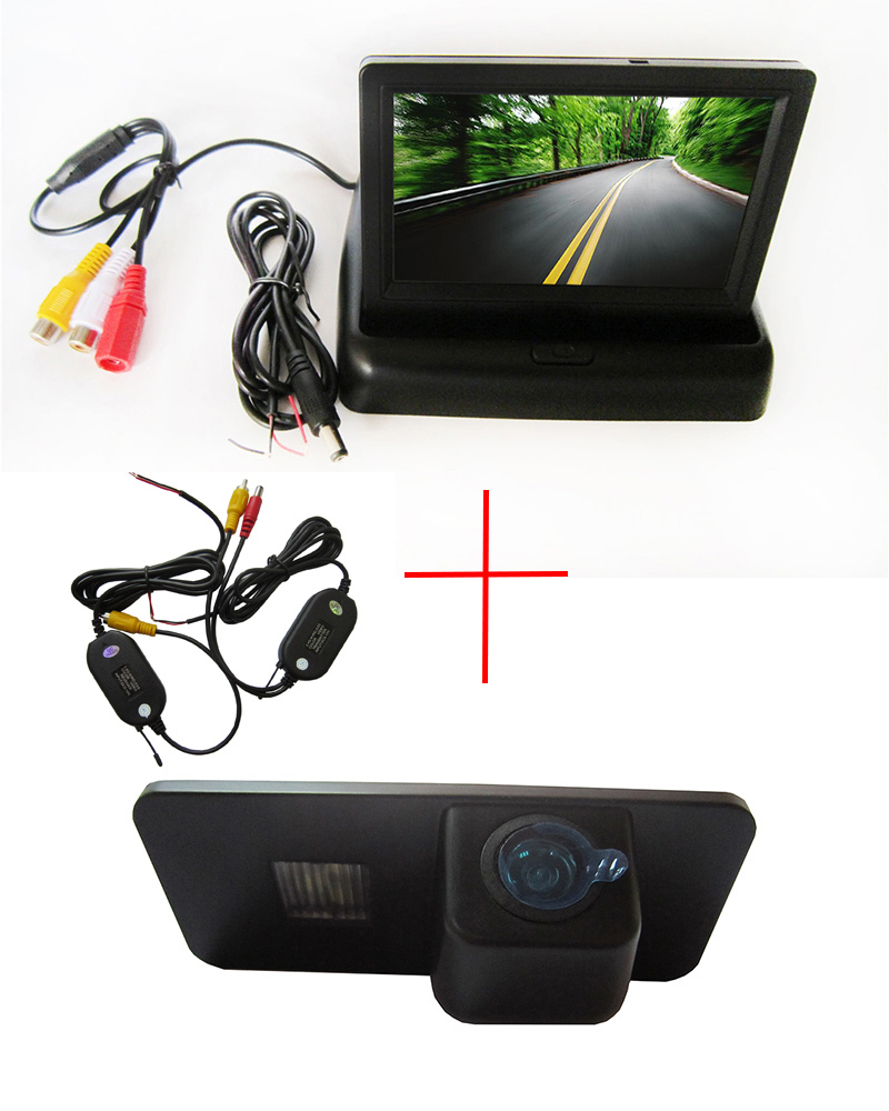 Wireless Color CCD Car Rear View Camera for VW Phaeton Scriocco Golf 4 5 6 MK4 MK5 EOS Lupo Beetle+4.3 Inch foldable LCD Monitor wireless color ccd chip car rear view camera for kia sorento sportage 4 3 inch foldable lcd tft monitor