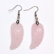 Trendy-beads Elegant Style Silver Plated Natural Rose Pink Quartz Dream Wing Dangle Earrings For Women Jewelry