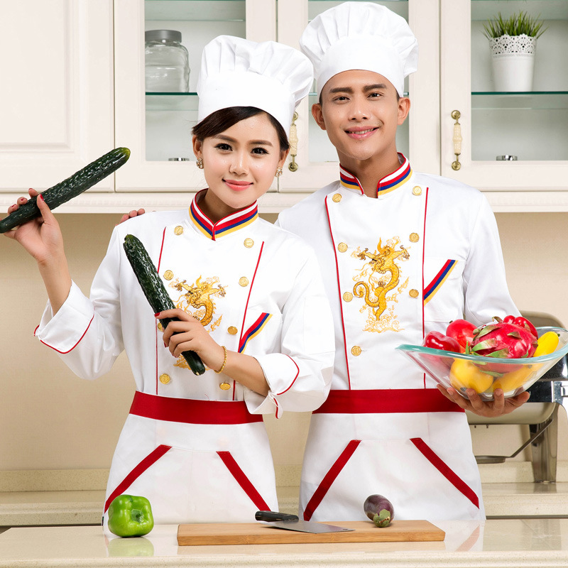 Hotel Chef's Uniform Embroidered Dragon New Arrival Kitchen Chef Costume Hotel Restaurant Chef's Clothes Long Sleeve B-5578