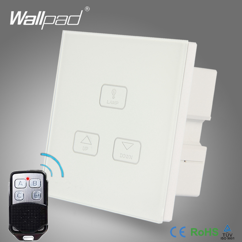 Remote Dimming Control Switch Wallpad Modern White Glass LED Light Wirelss Remote 3 Gang 2 Way
