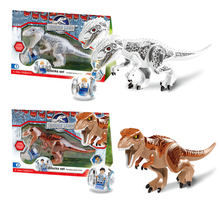 лучшая цена Legoings jurassic World Park Dinosaur world Figures Tyrannosaurs Rex Building Blocks baby Toys For Children Marvel BKX32